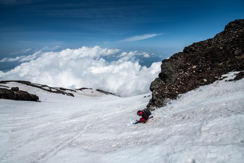 富士山スキー滑走1