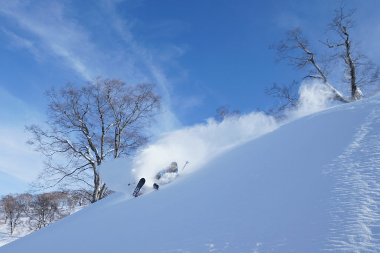 ファットスキーで新雪を滑る
