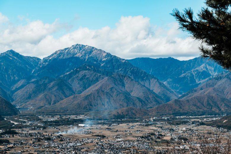 大町から見える北アルプスの山並み