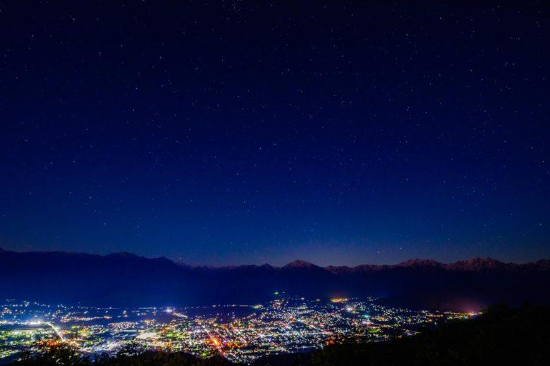 鷹狩山山頂から夜景